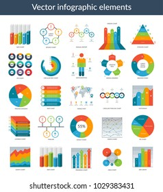 Infographic elements. Set of simple templates - circle, pie chart, world map, arrow, timeline, diagram, graph etc. Can be used for web, analytics, statistics, presentation, data visualisation, report