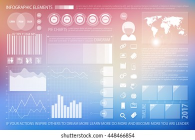 infographic elements, technology website icons. vector time line diagram, social media timetable, pie chart tools, blurred background. finance statistic marketing report presentation banner template