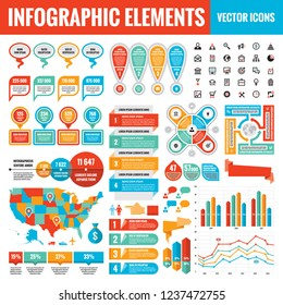 Infographic elements template collection - business vector Illustration  for presentation, booklet, website etc. Big set of Infograph and icons. USA map. Abstract graphic concept banners.