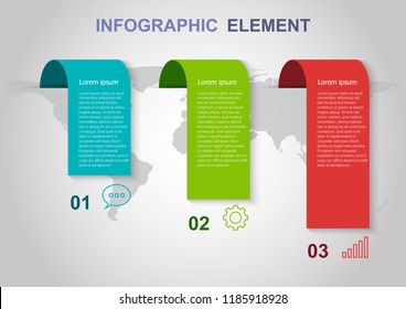 Infographic elements template on gray background. Can be used for business step options.