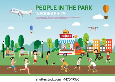 Infographic elements. This content about people have spend time relaxing in park and various activities in nature that have food truck service. vector illustration.