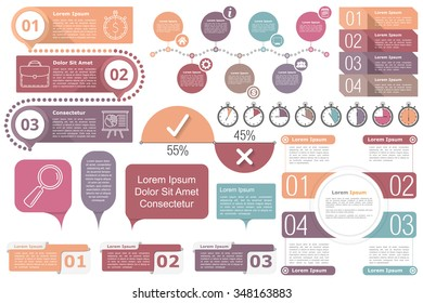 Infographic elements - Timeline, objects with text and numbers or steps or options, timers, circle diagram, percents chart, vector eps10 illustration