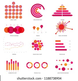 Infographic Elements, Trendy Presentation Vector Set. Pink, Purple Female Trendy Data Visualisation Design. Big Data Diagram, Path, Target Circle Chart. Statistics Website Infographic Elements