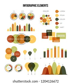 Infographic Elements, Trendy Presentation Vector Set. Brown, Green Graphic Rating, Chart Data Visualisation Design. Big Data Diagram, Path, Target Circle Chart. Modern Education Infographic Elements