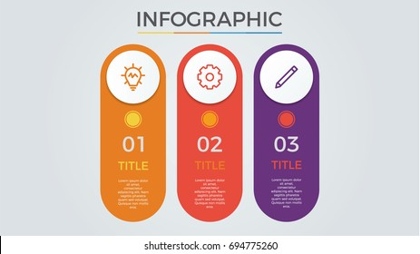 infographic elements vector with 3 circles, options, columns, list, can be used for step, workflow, diagram, banner, process, business presentation template, timeline, report. light theme.