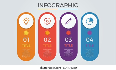 infographic elements vector with 4 circles, options, columns, list, can be used for step, workflow, diagram, banner, process, business presentation template, timeline, report. light theme.