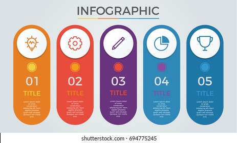 infographic elements vector with 5 circles, options, columns, list, can be used for step, workflow, diagram, banner, process, business presentation template, timeline, report. light theme.