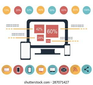 IT infographic elements vector illustration color
