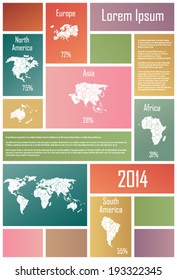 Infographic Elements wih continents In Colorful Rectangles