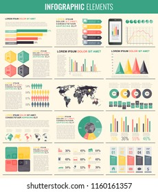 Infographic Elements with world map and charts. Vector illustration