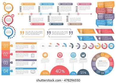 Infographic elements-circle diagram, timeline, progress indicators,diagram with percents, design templates with numbers (steps or options) and text,quote frames or text boxes,vector eps10 illustration