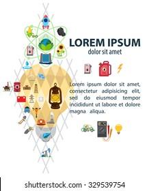Infographic of energetics, energetic icons