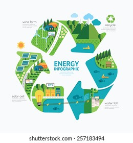 Infographic energy template design.protect world energy concept vector illustration / graphic or web design layout.