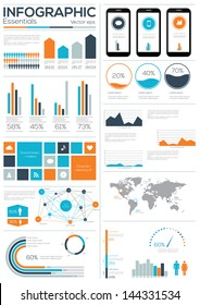 Infographic Essentials vector illustration. World Map and Information Graphics