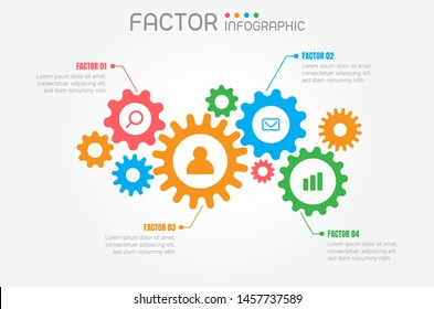 Infographic factors or fuctions of work process on grey background,vector illustration.