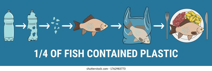 Infographic of fish with microplastics on the plate. 1/4 of fish contained plastic. Marine and ocean plastic pollution. Global environmental problems. No more plastic. Hand drawn vector illustration.