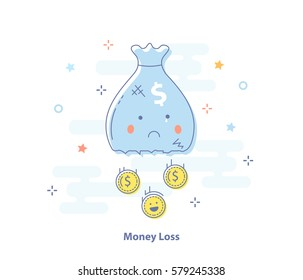Infographic flat design concept of Financial loss, Money expenses. Money bag with falling coins. Modern thin line icon in light colors for Website, Mobile and Apps.