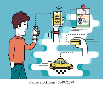 Infographic flat illustration of mobile app for booking taxi. Contour man holds in his hand white smartphone and going to order taxi cab.