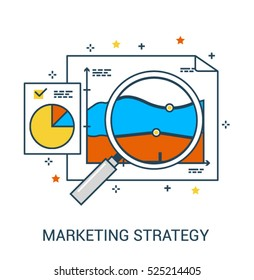 Infographic flat line business concept of Marketing Strategy and Research, Business and Data Analysis or Planning. Magnifying glass and graphics. Vector colorful icon design