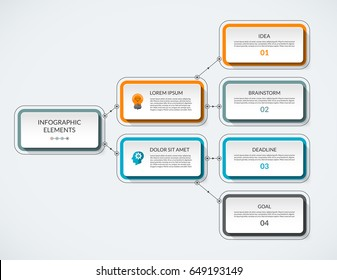 Infographic flow chart. Modern minimalistic vector template that can be used as diagram, graph, table, workflow layout for web, report, business presentation