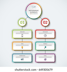 Infographic flow chart template with 2 option circles and 6 tabs. Modern minimalistic vector banner that can be used as diagram, graph, table, workflow layout for web, report, business presentation