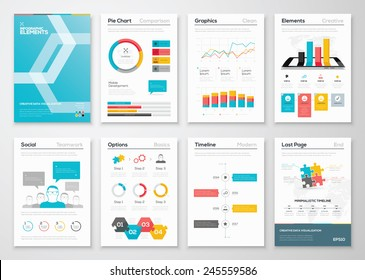 Infographic flyer and brochure designs and web templates vectors. Data visualization and statistic elements for print, website, corporate reports and graphic projects.