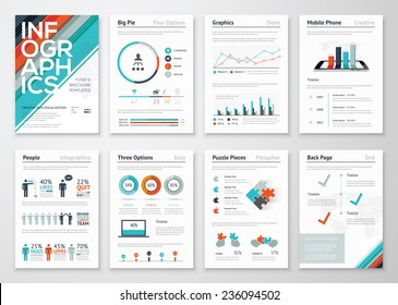 Infographic flyer and brochure elements for business data visualization. Vector illustration in modern flat info graphic style, that can be used for marketing, websites, print, presentation & mobile.
