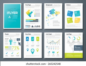 Infographic flyer templates and business vector elements. Use in website, corporate brochure, advertising and marketing. Pie charts, line graphs, bar graphs and timelines.