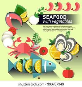 Infographic food business seafood flat lay idea. Vector illustration hipster concept.can be used for layout, advertising and web design. Seafood design set. Seafood menu for restaurant. Background