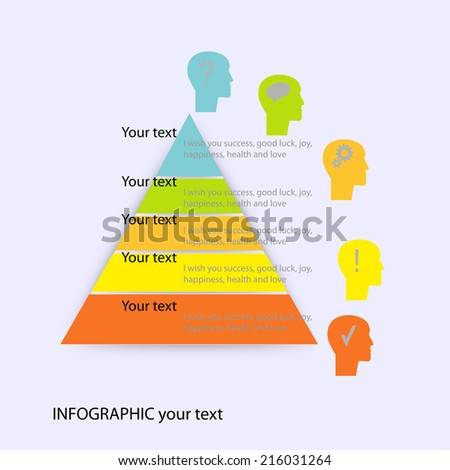 infographic form pyramid template head icons stock vector royalty