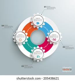 Infographic with gears and white ring on the grey background. Eps 10 vector file.