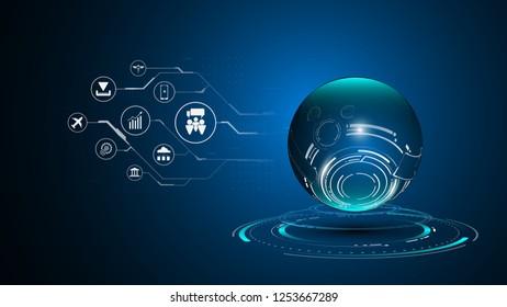 infographic globe  digital sci fi design concept background eps 10 vector