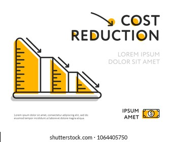 Infographic graph showing lowering of price in simple colors on white backdrop.