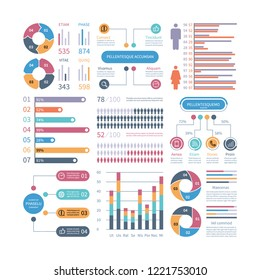 Infographic graphs. Business chart process infochart diagram option flowchart with people icons. Vector financial infographics elements