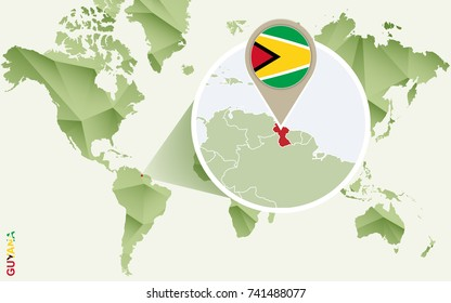 Infographic for Guyana, detailed map of Guyana with flag. Vector Info graphic green map.