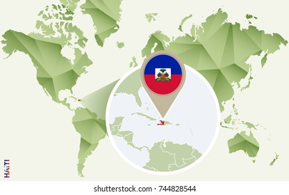 Infographic for Haiti, detailed map of Haiti with flag. Vector Info graphic green map.