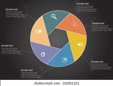 Infographic with hexagon shape divided into sig parts with signs in each and with space for own text on sides on black background