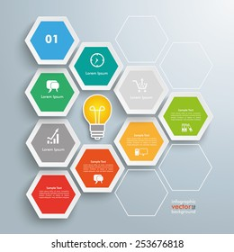 Infographic with hexagons on the gray background. Eps 10 vector file.