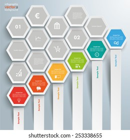 Infographic with hexagons on the grey background. Eps 10 vector file.