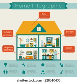 Infographic home. Flat style vector illustration.