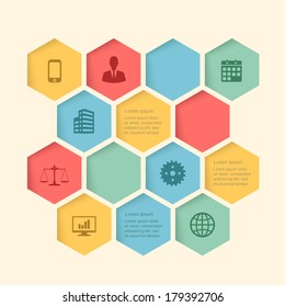 infographic honeycomb structure elements with icons set. vector graphic business modern template