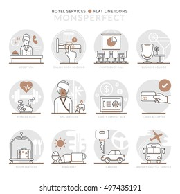 Infographic Icons Elements about Hotel Services. Flat Thin Line Icons Set Pictogram for Website and Mobile Application Graphics.