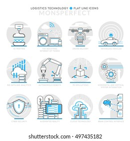 Infographic Icons Elements about Logistics technology. Flat Thin Line Icons Set Pictogram for Website and Mobile Application Graphics.