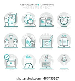 Infographic Icons Elements about Web Development. Flat Thin Line Icons Set Pictogram for Website and Mobile Application Graphics.