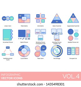 Infographic icons including linear venn, matrix, grid, pyramid, segmented, accented picture, spiral, bending transparent text, caption, bubble, multidirectional cycle, petal, percentage, grouped list.
