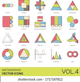 Infographic icons including linear venn, titled matrix, grid, basic pyramid, accented picture, spiral, bending transparent text, caption list, bubble, thin line triangle, chart, circle puzzle, curved.
