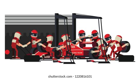 Infographic illustration background ,with pit stop workers and engineers maintaining technical service for a racing car