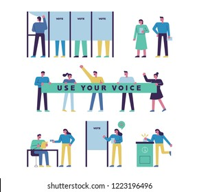 infographic illustration for how to vote. people set.flat design style vector graphic illustration.