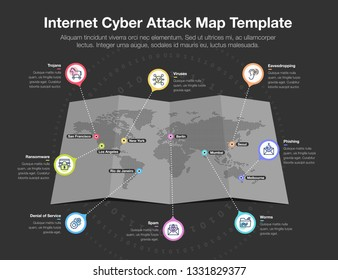 Infographic for internet cyber attack world map with 8 symbols for common internet cyber threats – dark version. Flat design, easy to use for your website or presentation.