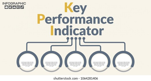 Infographic KPI concept with marketing icons. Key Performance Indicator can be used for workflow layout, diagram, report, web design. Business steps or processes concept with options.